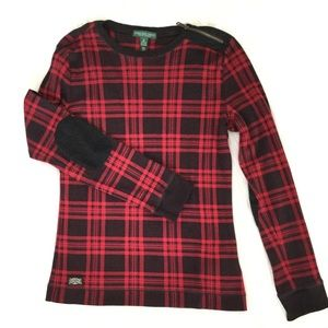 Ralph Lauren Plaid Long Sleeve Black / Red Top